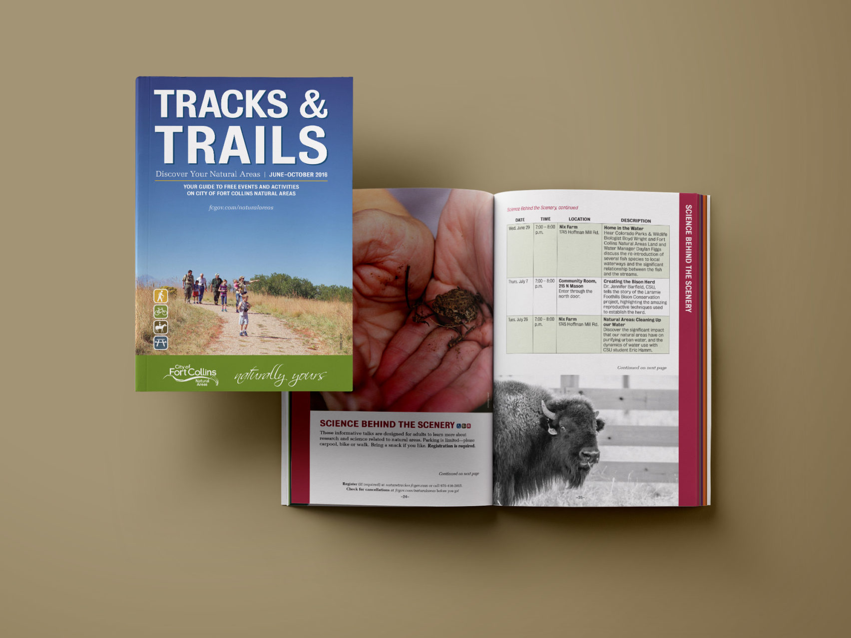 City of Fort Collins Tracks & Trails guide design and layout