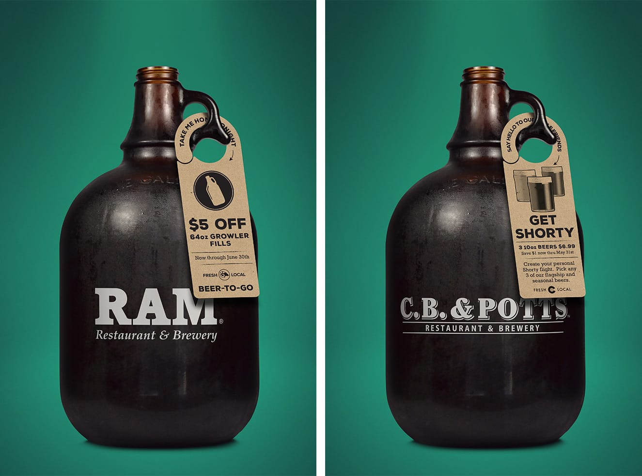 Ram and C.B. & Potts growler tag design