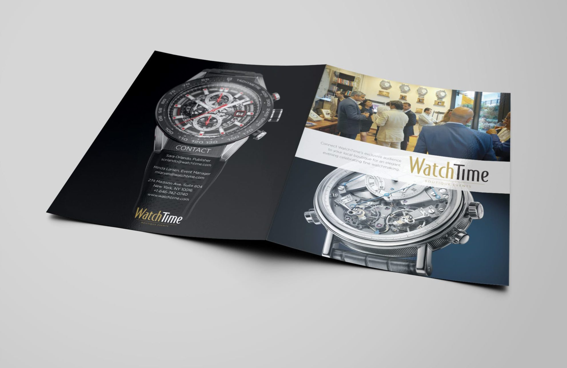 WatchTime Magazine Boutique Events brochure design